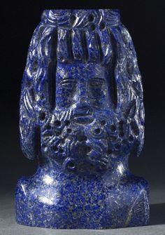 Lapis Lazuli Bust of Zeus Sarapis  --  Roman  --  Circa 300  --  Belonging to the  British Museum, London.