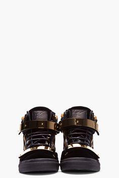 Giuseppe Zanotti Black Velvet Gold-bar Sneakers for men   SSENSE