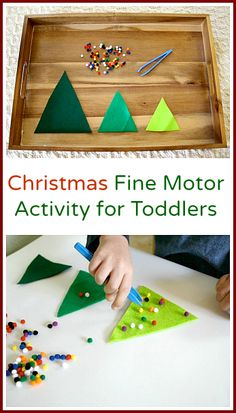 Fine Motor Christmas Activities: Decorate the Felt Christmas Trees (Fun learning… Christmas Activities For Toddlers, Fine Motor Activities For Kids, Preschool Christmas, Toddler Christmas, Noel Christmas, Holiday Activities, Craft Activities, Winter Christmas, Christmas Themes