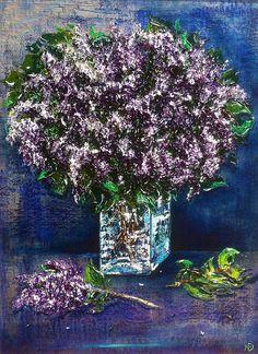 Сирени нежные, душистые цветы, 80х60, смешанная техника, 2015  Gentle lilac, fragrant flowers, 80x60, mixed media, 2015