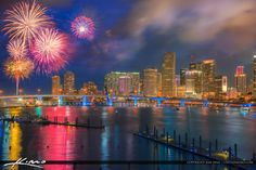 Beautiful fireworks over the Miami Skyline during the Independence Day parade along the waterway. HDR image created in Aurora HDR software by Macphun.
