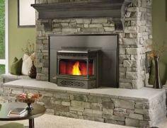 Pellet Insert by Napoleon® - Wood Burning Fireplace Inserts Pellet Stove Fireplace Insert, Wood Burning Stove Insert, Pellet Stove Inserts, Wood Burning Fireplace Inserts, Insert Stove, Wooden Fireplace, Home Fireplace, Fireplace Surrounds, Facades