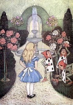 "fuckyeahvintageillustration: "" 'Alice's Adventures in Wonderland and Through the Looking Glass' by Lewis Carroll; illustrated by John Tenniel and Elenore Abbott. Published 1916 by George W. Lewis Carroll, Alice In Wonderland Illustrations, Inspiration Artistique, Painting The Roses Red, John Tenniel, Alice Madness, Adventures In Wonderland, Doodle, Through The Looking Glass"