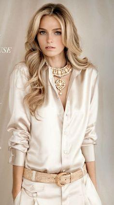 Elegant yet simple satin blouse outfit ideas (13)