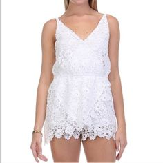 "White Crochet Lace Lolly Romper Lolly Lace Trim Romper   Fully Lined   Heavier material   Adjustable straps   Available in 3 colors this listing is for white, pink and teal available in my boutique  + S M L sizes   100% polyester   Measurements:   S     32"" bust   3"" Inseam  31"" Max Total Length with straps fully extended   M     34""  bust  3"" Inseam   31"" Total Length  L      36""  bust   3""  Inseam   31"" Total Length Poisoned Lace Boutique Pants Jumpsuits & Rompers"