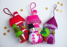 felt house ornaments by Intres handmade