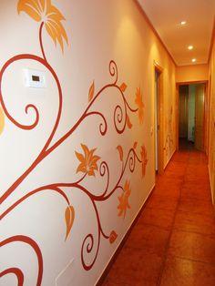 mural pintado para pasillo oficina casa