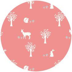 quilt fabric  Jay-Cyn Designs Storyboek for Birch Fabrics Field Friends Coral