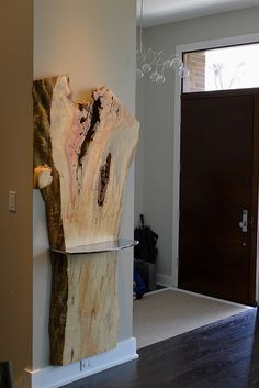 Box Elder Live Edge Wood Wall Mounted Console + Insanely Mirror Polished Stainless Steel Shelf for Entry Way! Live Edge Furniture, Log Furniture, Rustic Wood Furniture, Wood Slab, Raw Wood, Wood Wood, Painted Wood, Wood Projects, Woodworking Projects