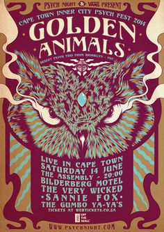 Psych Night & VANS Present: GOLDEN ANIMALS Live in SA by One Horse Town Illustration Studio, via Behance