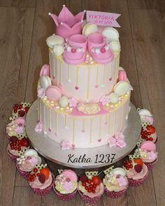 krstinová krémová tortička a muffiny torta, Torty na krstiny, Tortyodmamy.sk Cake, Desserts, Food, Decor, Cake Birthday, Pastries, Tailgate Desserts, Deserts, Decoration