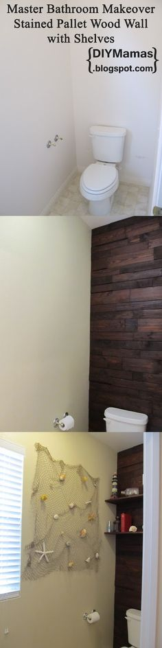 DIY Mamas: Master Bathroom Makeover! {Stained Pallet Wood Wall with Shelves}  Yoo Hoo, Margaret!  That would look beautiful in my bedroom behind my headboard