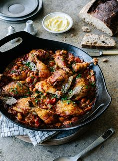 This is a cross between two of my favourite winter recipes; quick cassoulet and Boston baked beans. I use the beans (cooked without the chicken) for breakfast with a poached egg, as a side dish with lamb, pork and sausages or topped with grilled halloumi.