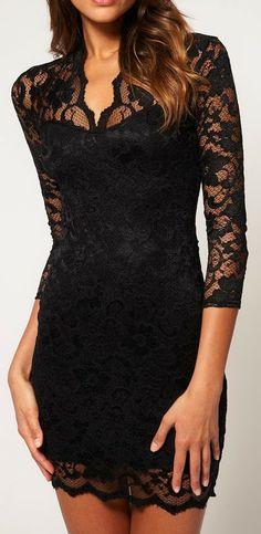 Glamorous black floral lace dress fashion