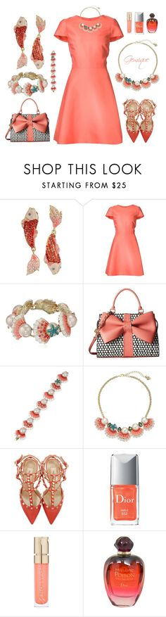 """""""Beachy Wedding Guest..."""" by gemique ❤ liked on Polyvore featuring Betsey Johnson, Monique Lhuillier, Valentino, Smith & Cult and Christian Dior"""