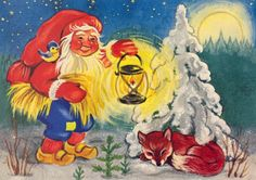 Kristina, Christmas card 10 x Finland David The Gnome, Elves And Fairies, Old Cartoons, Magical Christmas, Forest Animals, Red Hats, I Fall In Love, Gnomes, Elf