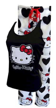 Hello Kitty Love That Kitty Plush Pajama Set Simply adorable pajamas! These tops and bottoms for women feature classic Hello Kitty in red, white, and black. The top features athletic back tank styling. The luxuriously soft plush bottom has an all-over print of HK and a covered elastic waistband with button detail on the closed fly. Junior Cut. $30.00