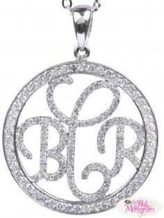 Three Letter Monogrammed Necklace in Sterling Silver