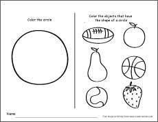 Cicle and circular shaped objects, colour and identify them. http://cleverlearner.com/shapes/circle-shape-activity.html