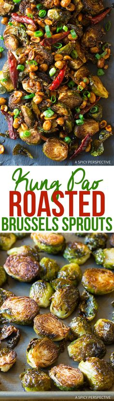 Kung Pao Roasted Brussels Sprouts Recipe - Perfectly Crispy Oven-Fried Brussels Sprouts drizzled with spicy Asian Kung Pao glaze! via @spicyperspectiv
