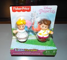 Fisher-Price Little People Disney Princess CINDERELLA & PRINCE CHARMING Figures #FisherPrice