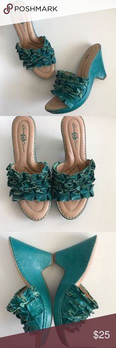 "BORN Teal Ruffle Wedges Upper and wedge are same deep teal color.   Leather upper.  Very comfortable.  Cushioned footbed.    Size 8 1/2"" platform  Total wedge 3.5""  Very little wear.  EUC. Born Shoes Sandals"