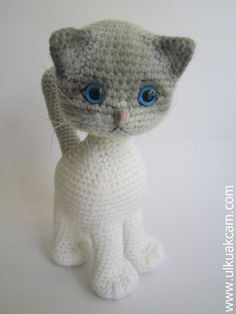 PATTERN DEAL Buy 4 get 1 free !! You can order any 4 pattern and get 1 free ... Please advise your choise when purchasing. ------------------------------------------------------------- Amigurumi Jointed Cat.. She can look anywhere she want with her jointed head. Her head is crocheted with two colors and shaded with amigurumi pencils. This listing is for an amigurumi pattern, not the finished toy. The finished cat is approximately 10 (25cm) tall.(including the tail) Crochet pattern in ...