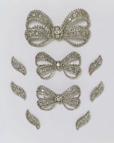 A set of diamond bow brooches, Russia, c. 1760. The bows would have been worn together: the largest on the front of the bodice, the smaller bows on the shoulders. It is rare for such magnificent diamond jewellery to survive intact, because succeeding generations tended to melt it down and re-make it in the latest fashion.