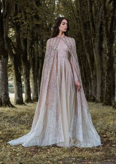 Rose gold and pastel gossamer wing-inspired wedding dress with cape by Paolo…