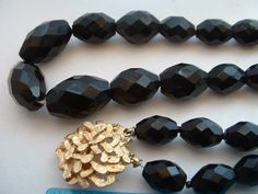 Vintage Black Faceted Cut Glass Necklace & Bracelet with Golden Clasp Set Demi Parure Mid Century (65.00 USD) by tea500