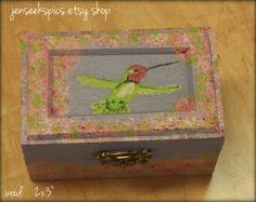Hand #Painted Wood Latched #Box- #hummingbird. Great keepsake box.