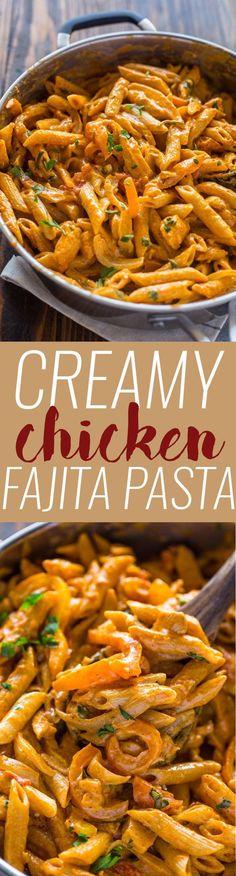 Creamy Chicken Fajita Pasta #chickenfoodrecipes