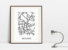 Amsterdam Abstract Map  Original Black and White Art by Postery