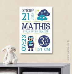 Affiche de naissance personnalisée, cadeau de naissance original, décoration murale chambre bébé enfant - Fichier Imprimable - n°126 : Décoration pour enfants par cashemir