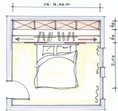 Sketch of a bedroom with measurements.  Read our blog to know more about the process for Discern Makeovers!