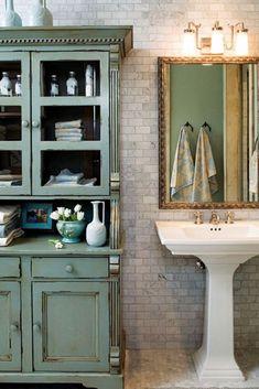 Pedestal sink storage cabinet #Pedestal #Sink #Storage Pedestal Sink Storage, Pedestal Sink Bathroom, Small Bathroom, Bathroom Ideas, Sink Organizer, Sink Accessories, Diy Storage, Cabinet, Mirror