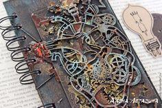 """Купить Блокнот """"Механическое сердце"""". - блокнот ручной работы, блокнот, блокнот для записей, блокнот с нуля, сердце, стимпанк, кровь, мужской, микс-медиа, скрапбукинг, scrapbooking, heart, steampunk, blood, book, notebook, male"""