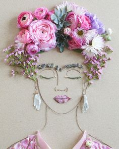 """Pink Frida"" Flower Face Print"