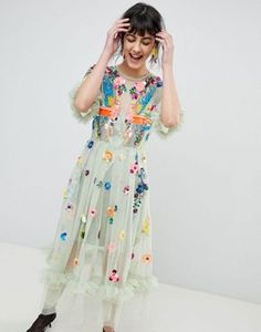 ASOS EDITION Bird Embellished Smock Midi Dress
