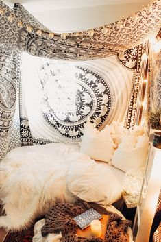 Lady Scorpio | @Ladyscorpio101 ☽☽ ladyscorpio101.com ☆ Perfect Bedroom Decor for the Hippie at heart ♡ Black & White Elephant Parade Mandala Tapestry