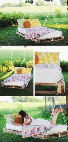 DIY Hanging Pallet Bed - Love This! Good idea to use crib/toddler bed mattress when no longer in use.