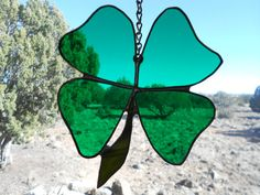 Green 4 Leaf Clover Shamrock stained glass by gregsgiftsofglass, $42.00