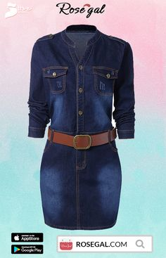 105d87c332fba1 ROSEGAL 5th Anniversary Special Sale !Plus Size Fitted Denim Jean Dress  with Belt is suitable