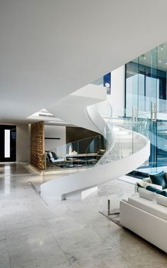 Mansion With Perfect Interiors by SAOTA | #modern #architecture #design #house #home #residence #amazing #beautiful #new #saota #interior #stairs #spiral #white