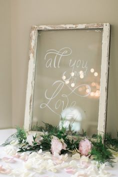 Painted on Glass Wedding Sign | photography by http://www.nicoledetonephotography.com/