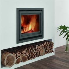 Browse a wide selection of inset stoves, ideal for smaller rooms, from Direct Stoves. Inset log burners & multi-fuel stoves at great prices. Wood Burner Fireplace, Wood Burning Fireplace Inserts, Modern Fireplace, Fireplace Wall, Fireplace Design, Wood Burning Stove Insert, Fireplace Ideas, Modern Wood Burning Stoves, Wood Burning Fires