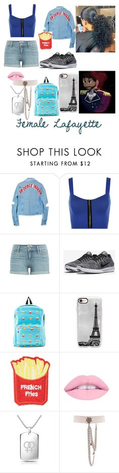 """Hamilton modern au: Lafayette"" by donnielover ❤ liked on Polyvore featuring High Heels Suicide, WearAll, Paige Denim, NIKE, Casetify, Cara, Bling Jewelry, Alexander McQueen and modern"
