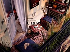 I have fallen in love! With this flooring that is. Small balcony idea from Ikea.