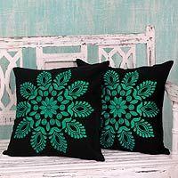 Cotton cushion covers, 'Teal Splendor' (pair)