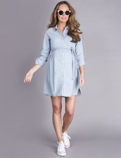 A Pea in the Pod Seraphine Justine Chambray Maternity Dress